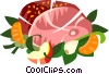 Ham dinner Vector Clipart illustration