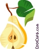Vector Clipart image  of a Sliced pear