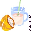 Vector Clip Art graphic  of a pocket sandwich and a glass of