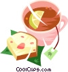 Vector Clipart graphic  of a cup of tea and a piece of cake