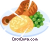 Vector Clipart image  of a chicken supper