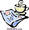 newspaper with a cup of coffee Vector Clipart illustration