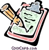 Vector Clip Art graphic  of a clipboard and a pen