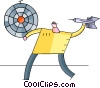 Man throwing darts Vector Clip Art graphic