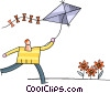 Vector Clipart graphic  of a Kite Flying