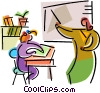 Teacher and students in class Vector Clip Art image