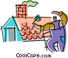 Vector Clipart illustration  of a Roofing Repair