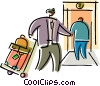 Vector Clipart graphic  of a Bellboys Bellhops and Bell