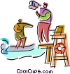 Lifeguard with binoculars Vector Clipart illustration