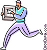 courier delivering a package Vector Clip Art picture