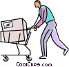 Vector Clip Art graphic  of a customer with a box in his