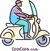 Vector Clip Art picture  of a man driving a scooter