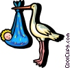 Vector Clipart graphic  of a stork delivering a baby
