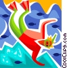 Snorkeler swimming with fish Vector Clipart illustration