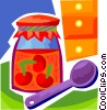 Fruit Preserves with spoon Vector Clipart graphic