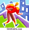 Football player running with the ball Vector Clip Art picture