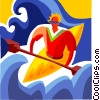 Vector Clipart picture  of a Kayaker