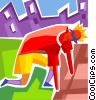 Vector Clip Art graphic  of a Runners Running