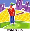 Vector Clip Art image  of a Baseball Players