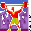 Vector Clip Art picture  of a Bodybuilding and Weight