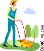 Vector Clipart picture  of a Lawnmowers