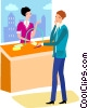 Woman a ticket booth Vector Clipart picture
