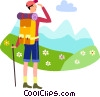 Hiker taking a break Vector Clipart picture
