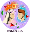 Bride and Groom Vector Clipart graphic