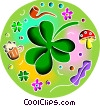 Shamrock with beer, mushroom and pipe Vector Clipart illustration