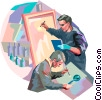 Painters working Vector Clip Art picture