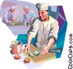 Chef preparing supper menu Vector Clip Art picture