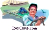 Farmer on his tractor Vector Clipart illustration