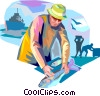 Vector Clip Art image  of a Commercial Fishing