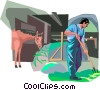 Vector Clip Art image  of a Farmers