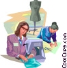 Seamstress making dress Vector Clipart picture
