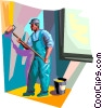 Man painting house Vector Clip Art picture