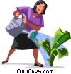 businesswoman watching her cash grow Vector Clip Art picture