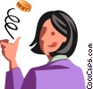 Vector Clip Art graphic  of a businesswoman flipping a coin