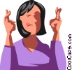 woman with her fingers crossed Vector Clipart image