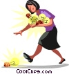 Vector Clipart graphic  of a Businesswoman picking up ideas