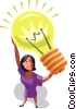Businesswoman with an idea Vector Clipart illustration