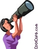 woman looking through a telescope Vector Clip Art graphic