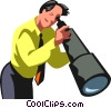 Vector Clipart image  of a Businessman looking through a