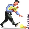 Vector Clip Art image  of a Businessman picking up ideas
