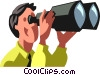 Businessman looking through binoculars Vector Clipart picture