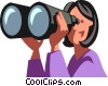 Vector Clipart graphic  of a Businesswoman looking through