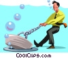 Businessman pulling the plug Vector Clipart graphic