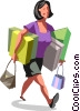 Woman walking with packages Vector Clipart illustration