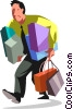 Vector Clip Art image  of a Businessman walking with
