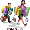 Couple walking with packages Vector Clip Art picture
